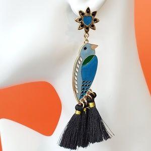 Blue Black Bird Earrings Tassel Droop Stud